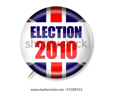 Button Graphic for 2010 General Election in the United Kingdom - stock photo