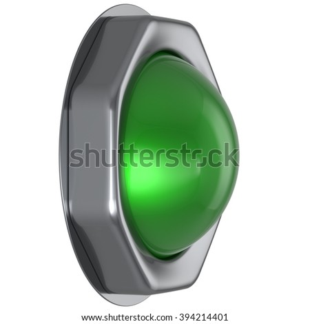 Button green start turn off on action push down activate ignition positive power switch design element metallic shiny blank. 3d render isolated - stock photo