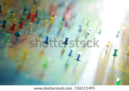 button in the cities of the world political map in Russian - stock photo