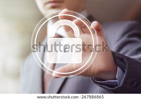 Button lock security business sign web - stock photo