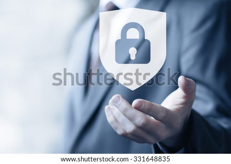 Button locked shield security virus icon business online - stock photo