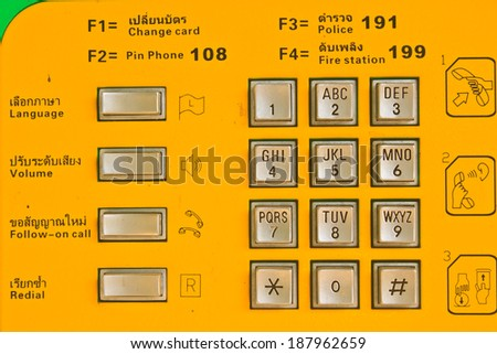 button number public telephone coin and card in Thailand  - stock photo