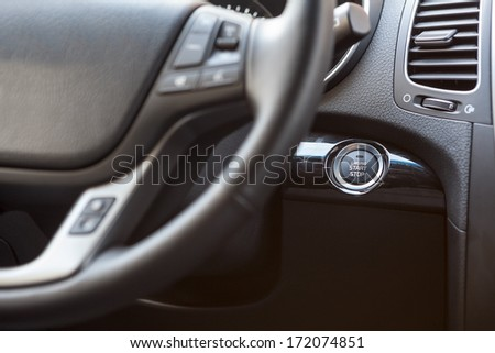 Button of automatic start and stop the engine car - stock photo