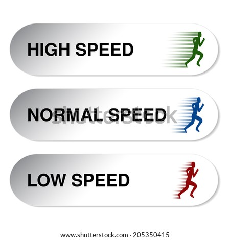 button of speed - low, normal, high - stock photo