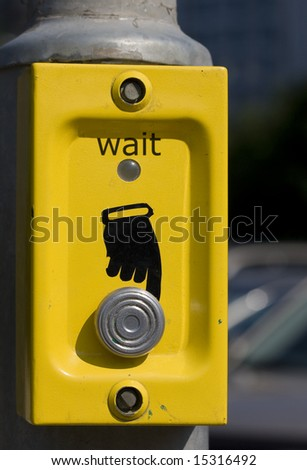 Button of turning of green light for pedestrian - stock photo