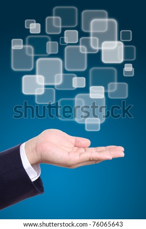 button on business man hand - stock photo