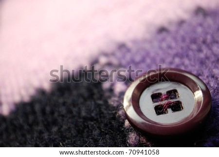 Button on knitting wool texture macro detail background, free copy space - stock photo