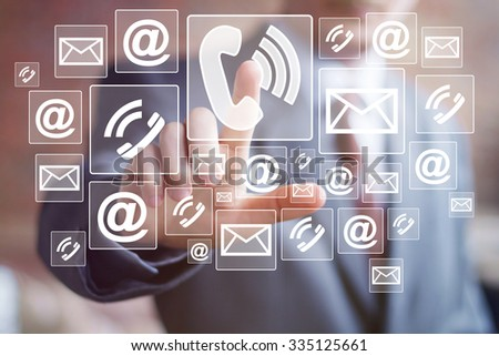 Button phone business sign online network icon mail. - stock photo