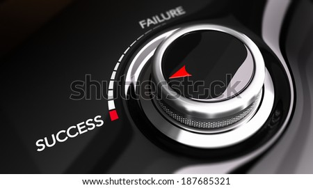 Button pointing the word success. Concept image for illustration of motivation improvement or individual efficiency.