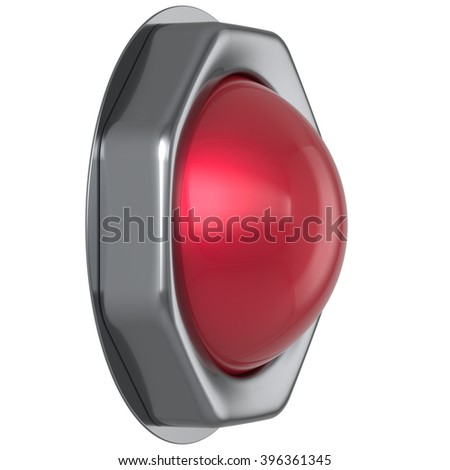Button red start turn off on action military game panic push down activate ignition power switch electric design element metallic shiny blank led lamp. 3d render isolated - stock photo