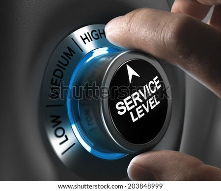 Button service level pointing the high position with blur effect plus blue and grey tones. Conceptual image for illustration of company performance or customer, satisfaction. - stock photo