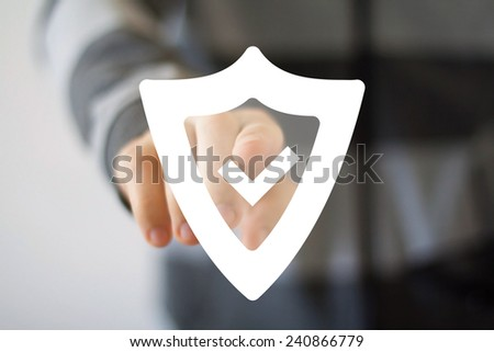 Button shield security virus icon business web sign - stock photo