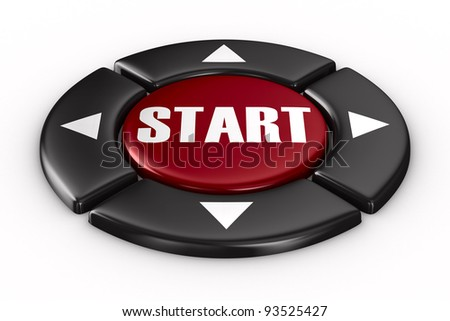 button start on white background. Isolated 3D image - stock photo