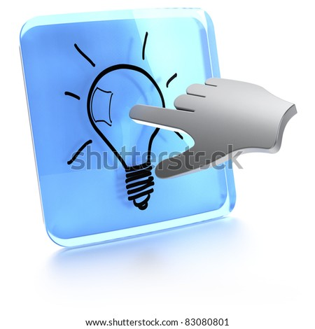 button with a light bulb in it and a computer hand touching the screen - stock photo