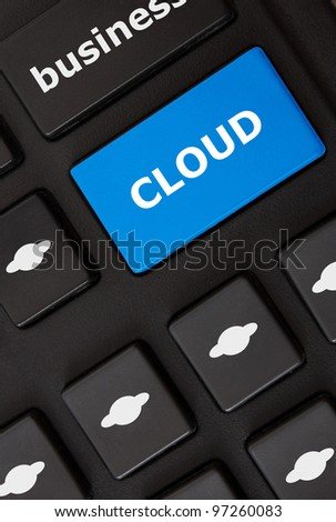 Button with cloud text and cloud computing symbols on the modern keyboard. Cloud computing  concept - stock photo