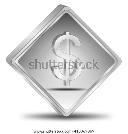 Button with Dollar sign - 3D illustration - stock photo