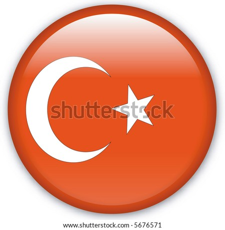 Button with map from Turkey - stock photo