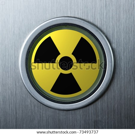 Button with radioactive sign - stock photo