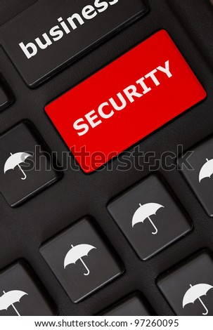 Button with security text and umbrella symbols on the modern keyboard. Security concept - stock photo