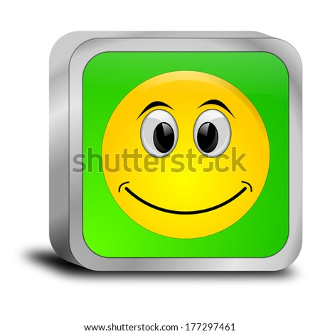 Button with smiling face - stock photo