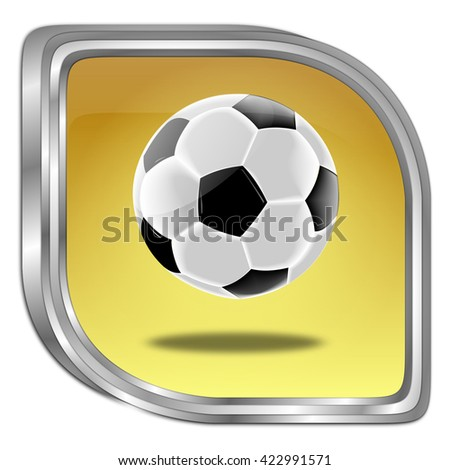 Button with Soccer ball - 3D illustration - stock photo
