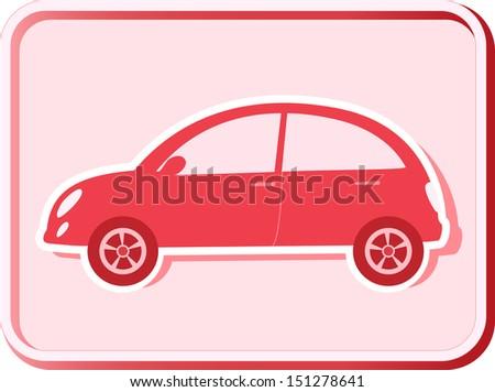 button with woman retro car silhouette - stock photo