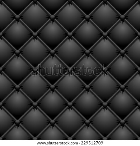 Buttoned black leather texture.  - stock photo