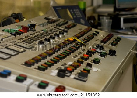 Buttons and Dials at an industrial facility - stock photo