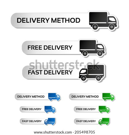 buttons - delivery method, free delivery and fast delivery, truck labels - stock photo