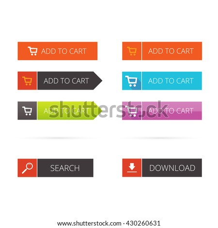 Buttons flat set, add to cart buttons, search button, download button image