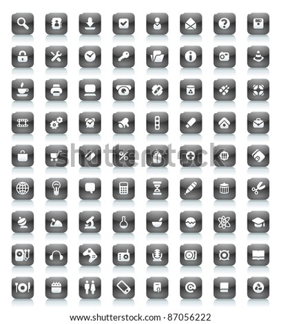Buttons for computer, business, shopping, science, education and music. Icons for websites and interface elements. Raster version. Vector version is also available. - stock photo