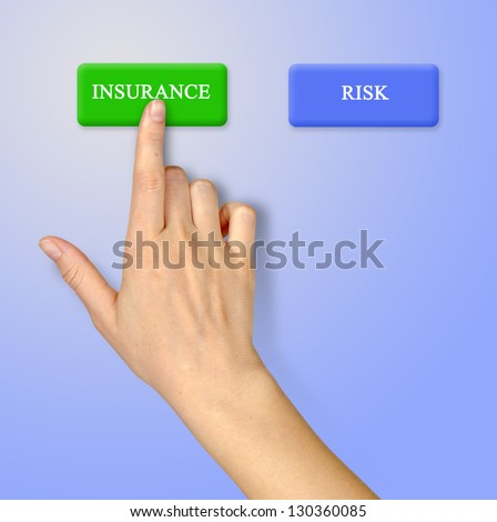 Buttons for insurance and risk - stock photo