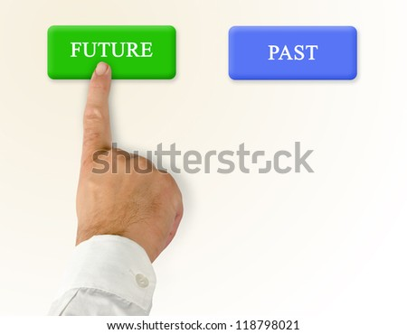 Buttons for past and future - stock photo