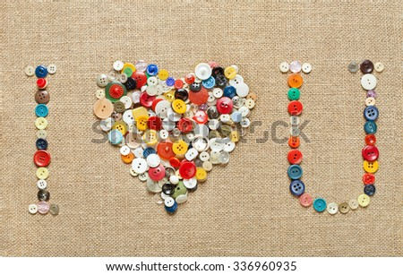 buttons heart background. Valentine's Day. I Love you - stock photo