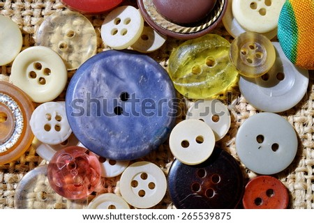 Buttons of different colors and sizes - stock photo