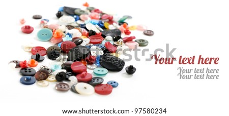 buttons of different shapes and colors with space for text - stock photo