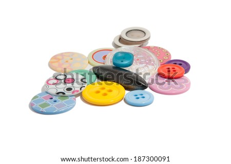 buttons of many colors isolated on a white background