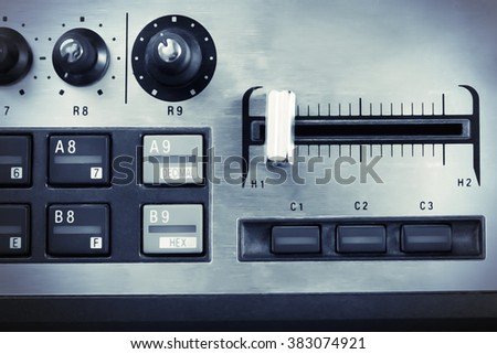 Buttons of synthesizer closeup - stock photo
