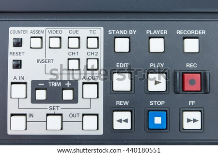 Buttons of the tape Broadcasting system - stock photo
