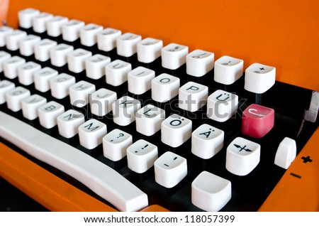 Buttons of vintage typewriter close-up - stock photo