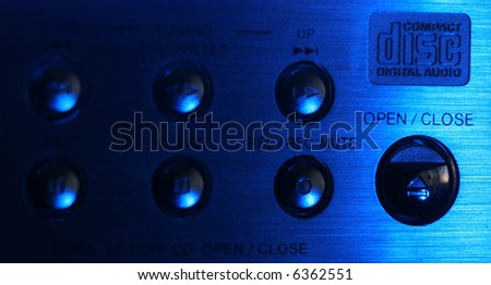 Buttons on control panel in blue color - stock photo