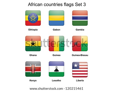 buttons with African countries flags set 3