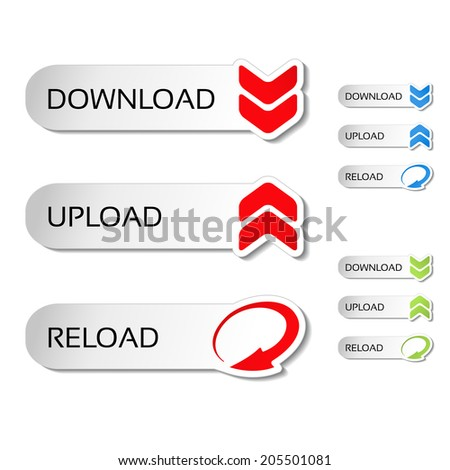 buttons with arrow - download, reload, upload