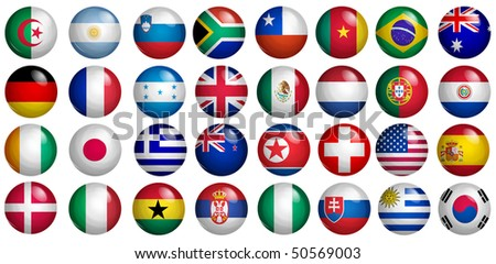 buttons with flags of the 32 participants of soccer world cup 2010 - stock photo