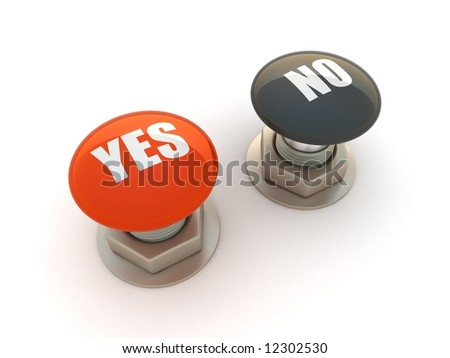 Buttons with Yes and No - stock photo