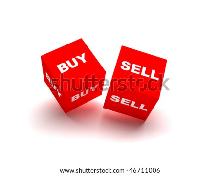 buy and sell blocks. red blocks spelling buy and sell words isolated on white background