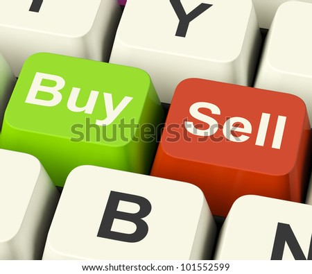 Buy And Sell Keys Represents Business Trade Or Stocks Online - stock photo