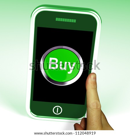 Buy Button On Mobile Showing Commerce Or Retail
