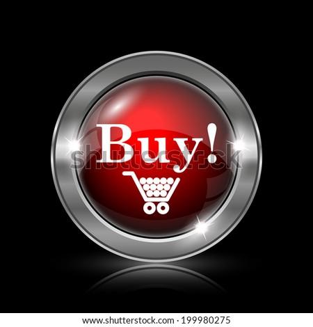 Buy icon. Metallic internet button on black background.  - stock photo