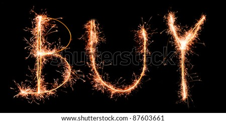 BUY made of sparkles. Sparkles words collection. - stock photo